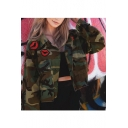 Fashion Camouflage Lip Pattern Long Sleeve Single Breasted Jacket