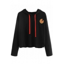 New Stylish Embroidery Pizza Pattern Long Sleeve Cropped Hoodie