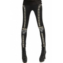 Cool Elastic Waist Rivets Embellished Slim-Fit Leggings