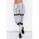 Chic Elastic Waist Sheer Mesh Panel Sport Leggings