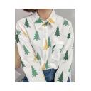 Leisure Tree Print Lapel Long Sleeve Buttons Down Shirt