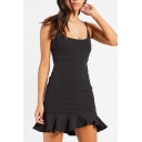 Simple Plain Square Neck Straps Ruffle Hem A-Line Mini Dress