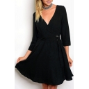 Simple Elegant Plunge Neck 3/4 Sleeves Elastic Waistband Flared Mini Wrap Dress