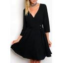 Simple Elegant Plunge Neck 3/4 Sleeves Elastic Waistband Flared Mini Wrap Dress