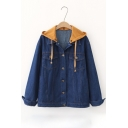 Detachable Contrast Hood Long Sleeve Single Breasted Denim Jacket