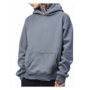 New Stylish Drop Sleeve Pocket Plain Loose Unisex Hoodie