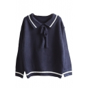 New Fahsion Color Block Striped Lapel Long Sleeve Pullover Sweater