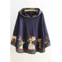 New Fashion Cartoon Cats Print Long Sleeve Hooded Cape Coat