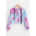 New Stylish +Color Block Print Drawstring Long Sleeve Crop Hoodie