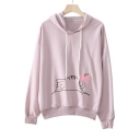 New Fashion Lovely Cartoon Cat Print Long Sleeve Hoodie