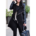 Chic Faux Leather Panel Long Sleeve Zipper Bow Tie Waist Tunic Coat