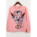 New Fashion Cartoon Girl Embroidered Round Long Sleeve Pullover Sweater