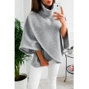 Simple Plain High Neck Batwing Long Sleeve Loose Pullover Sweatshirt