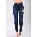 New Fashion Floral Embroidered High Waist Skinny Jeans