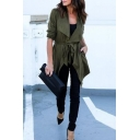 Chic Plain Waterfall Colar Long Sleeve Trench Coat with Belt