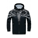 New Stylish Print Drawstring Hood Long Sleeve Zip Up Sport Coat