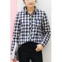 New Stylish Lapel Collar Long Sleeve Button Down Classic Plaid Shirt