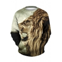 Hot Popular Lion Head Print Round Neck Long SLeeeve Pullover Sweatshirt
