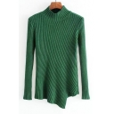 Simple Mock Neck Long Sleeve Asymmetric Cable Sweater