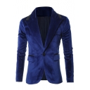 New Stylish Notched Lapel Velvet Long Sleeve Single Button Suit Blazer