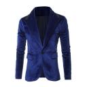 New Stylish Notched Lapel Velvet Long Sleeve Single Button Suit Blazer