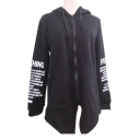 New Stylish Letter Print Long Sleeve Zipper Split Back Hooded Coat