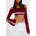 Sexy Simple Striped Off the Shoulder Long Sleeve Cropped Tee