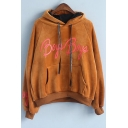 New Stylish Letter Print Drawstring Hood Long Sleeve Hoodie