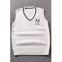 New Trendy Lovely Panda Embroidered V-Neck Sleeveless Vest Sweater