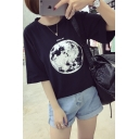 New Stylish Earth Letter Print Round Neck Short Sleeve Tee