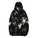 Hip-Hop Style Color Block Print Long Sleeve High Low Hem Hoodie
