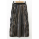 New Stylish Striped Print Elastic Waist Midi Pleated Skirt