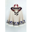 New Fashion Cartoon Deer Pring Long Sleeve Horn Hood Cape
