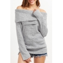 New Stylish Off Shoulder Long Sleeve Simple Plain Pullover Sweater