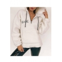New Stylish Embroidery Letter Pattern Long Sleeve Zipper Hoodie Coat