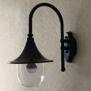 Industrial Wall Sconce with Clear Glass Shade in Black Finish