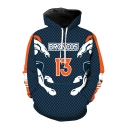 Fashion Letter Rugby Team Print Drawstring Hood Long Sleeve Hoodie