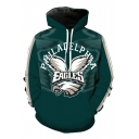 New Stylish Eagle Print Pocket Drawstring Hood Long Sleeve Hoodie