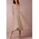 Elegant Plunge Neck Half Sleeves A-line Plain Midi Dress