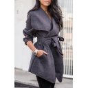 Winter's Fashion Over-Sized Collar Long Sleeves Bow-Front Asymmetric Hem Midi Coat
