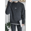 Simple Plain Letter Embroidered Long Sleeve Pullover Sweater