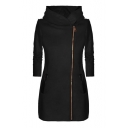 New Stylish Contrast Zipper Long Sleeve Hooded Tunic Coat