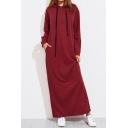 New Stylish Drawstring Hood Long Sleeve Simple Plain Pocket Maxi Dress