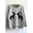 New Fashion Cartoon Deer Pattern Round Neck Long Sleeve Pullover Sweater
