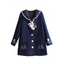New Fashion Cartoon Cat Embroidered Long Sleeve Buttons Doewn Coat