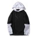 Chic Color Block Print Fake Two-Piece Drawstring Hood Unisex Hoodie