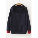 New Stylish Contrast Cuff Pocket Loose Hoodie