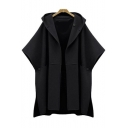 New Stylish Open Front Simple Plain Hooded Tunic Poncho
