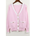 New Fashion Simple Contrast Hem V-Neck Long Sleeve Buttons Down Cardigan