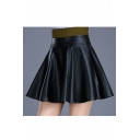 Simple Plain High Waist PU Pleated Mini Skirt